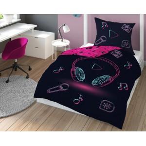 Čierno ružové posteľné obliečky s motívom I LOVE MUSIC