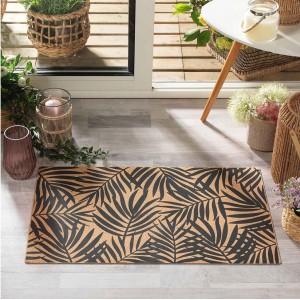 Fenomnálny hnedý korkový koberec s motívom listov 45 x 75 cm