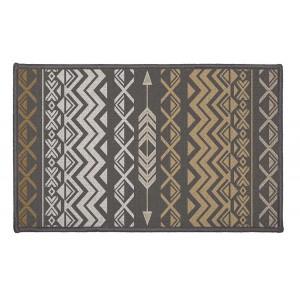 Štýlový čierny koberec do predsiene v etno štýle