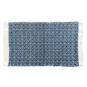 Bavlnený modrý koberec zo strapcami 50 x 80 cm