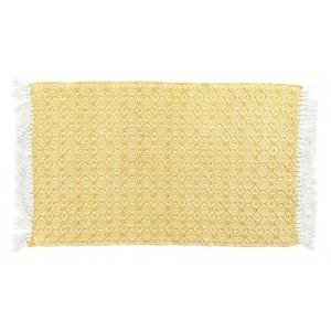 Bavlnený žltý koberec so strapcami 50 x 80 cm