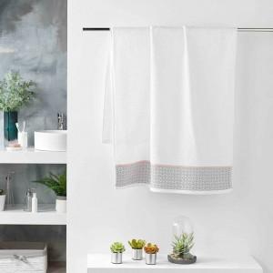 Biely bavlnený uterák kolekcia DOUCER s decentným vzorom 70 x 130 cm