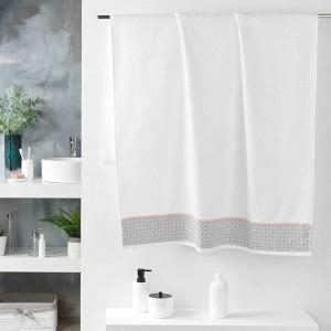 Kvalitná biela bavlnená osuška s jemným ružovým pásikom 90 x 150 cm