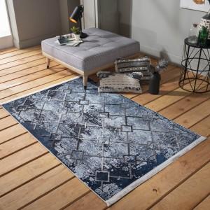 Fenomenálny modrý vzorovaný koberec v škandinávskom štýle