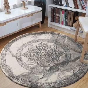 Štýlový sivý okrúhly koberec so vzorom mandaly