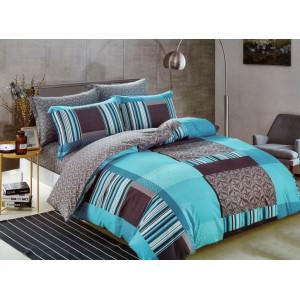 Krásne tyrkysovo sivé bavlnené posteľné obliečky s geometrickým motívom