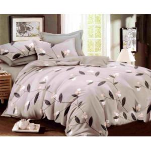 Sivé posteľné obliečky s motívom listov