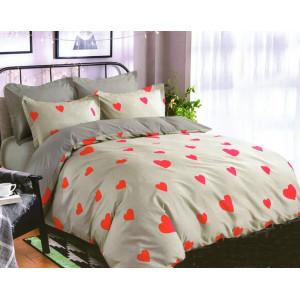 Obojstranné sivo béžové posteľné obliečky so srdiečkami