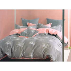 Koralovo sivé bavlnené posteľné obliečky s rastlinným motívom