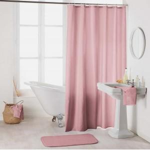 Krásny ružový záves do kúpeľne so zavesením na kruhy 180 x 200 cm