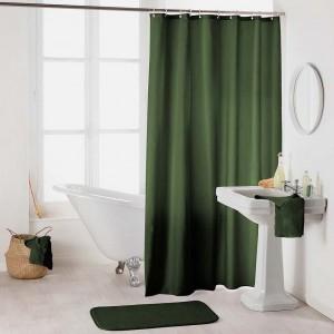 Zelený kvalitný sprchový záves na kruhy 180 x 200 cm