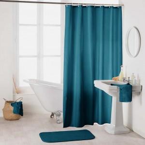 Štýlový nepremokavý záves do sprchy v krásnej petrolejovo modrej farbe 180 x 200 cm