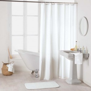 Biely nepremokavý záves do sprchy so zavesením na kruhy 180 x 200 cm