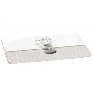 Kvalitný béžovo biely kúpeľnový koberček s motívom ZEN