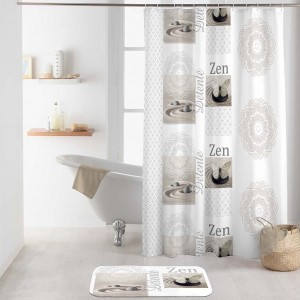Originálny biely záves do sprchy s wellness motívom ZEN 180 x 200 cm