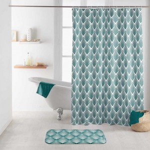 Krásny modro zelený nepremokavý záves do sprchy v škandinávskom štýle 180 x 200 cm