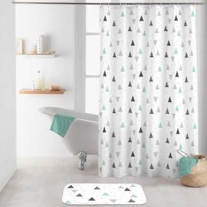 Biely nepremokavý záves do sprchy s farebným geometrickým vzorom 180 x 200 cm