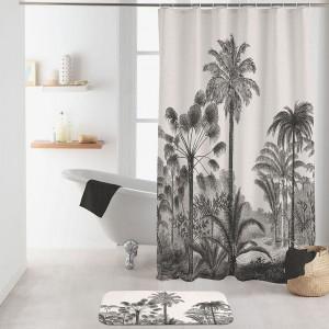 Krásny béžový nepremokavý záves do kúpeľne s motívom paliem 180 x 200 cm