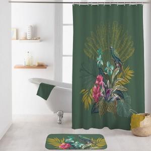 Fenomenálny zelený kúpeľnový záves s exotickým motívom 180 x 200 cm