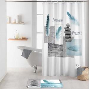 Moderný bielo tyrkysový nepremokavý záves do sprchy s motívom ZEN 180 x 200 cm