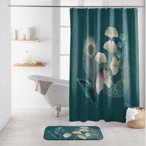 Fenomenálny petrolejovo zelený záves do sprchy s motívom pávieho pierka 180 x 200 cm