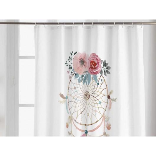 Krásny biely nepremokavý záves do sprchy s motívom lapač snov 180 x 200 cm