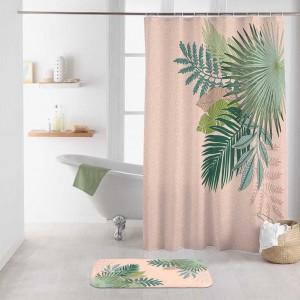 Moderný púdrovo ružový nepremokavý záves do sprchy s motívom listov 1890 x 200 cm