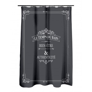 Luxusný sivý nepremokavý záves do sprchy s bielym nápisom 180 x 200 cm