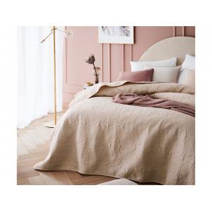 Fenomenálny béžový prehoz na posteľ s ornamentálnym prešívaním 240 x 260 cm