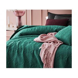 Krásny tmavo zelený prešívaný prehozna posteľ  220 x 240 cm