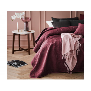 Bordový prešívaný prehoz na manželskú posteľ 220 x 240 cm