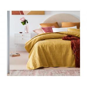 Žltý jednofarebný prešívaný prehoz na posteľ 200 x 220 cm