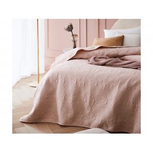 Brilatný púdrovo rúžový prehoz na posteľ 200 x 220 cm