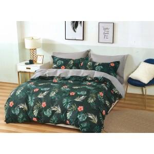 Bavlnené zelené posteľné obliečky s motívom listov a kvetov