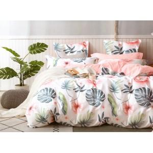 Brilantné bavlnené ružové posteľné obliečky s farebnými kvetmi a listami