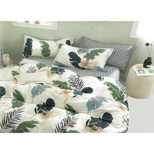 Moderné krémové bavlnené posteľné obliečky s listami