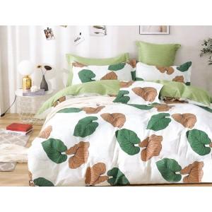 Originálne obojstranné bielo zelené posteľné obliečky s listami