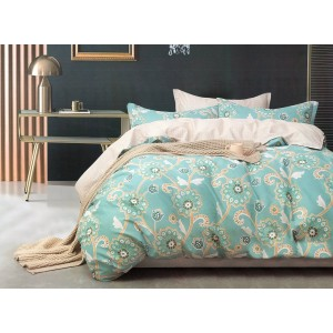 Nadčasové béžovo zelené bavlnené posteľné obliečky