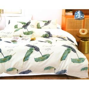 Krémové posteľné obliečky s listami a nápisom beautiful life