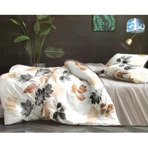 Krásne béžové posteľné obliečky s jesenným lístím