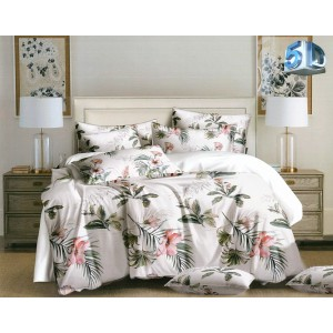 Krásne béžovo biele posteľné obliečky s motívom exotických kvetov