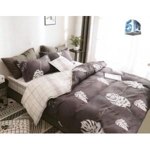 Sivo hnedé obojstranné posteľné obliečky z mkrovlákna s bielymi listami