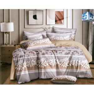 Originálne sivo hnedé posteľné obliečky s bielymi listami