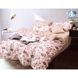 Béžovo ružové obojstranné posteľné obliečky s motívom kvetov
