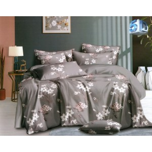 Brilantné sivé posteľné obliečky z mikrovlákna s kvetinovým vzorom