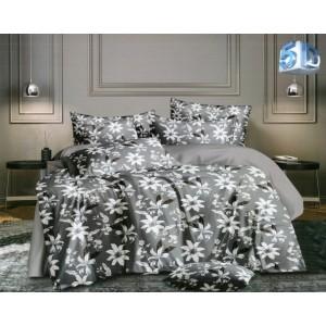 Nadčasové sivé posteľné obliečky s bielym kvetmi