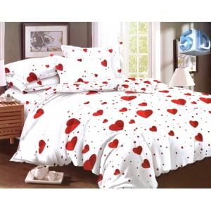 Romantické biele posteľné obliečky s červenými srdciami