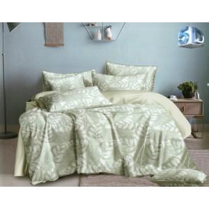 Moderné zelené posteľné obliečky s bielymi listami