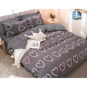 Originálne sivé obojstranné posteľné obliečky so srdciami