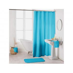 krásne jednofarebný modrý záves do sprchy